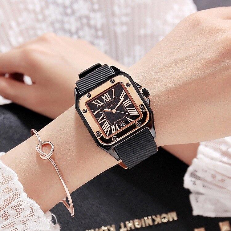 Fashion GUOU Brand Women Watches Lady Luxury Wristwatches Rubber Silicon Dress Watch Square Quartz Dress Gift Student Clocks