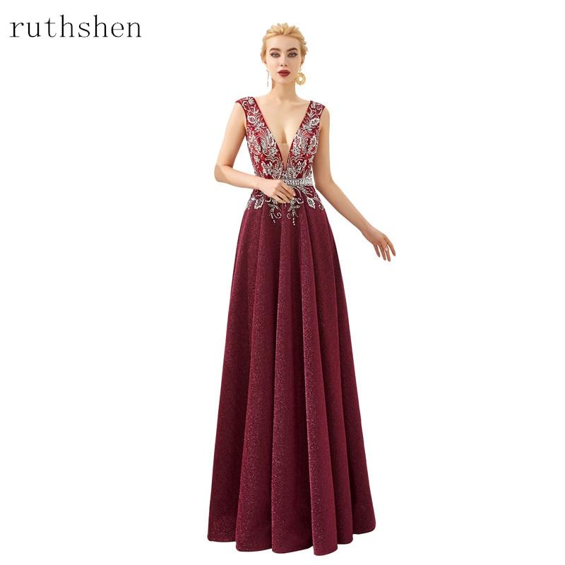 10867 41 De Descuento2019 Vestidos De Gala Largos Sexy Vestidos De Baile De Cuello Profundo Elegante Borgoña Con Cuentas Vestido De Noche Hasta El