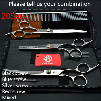 20Sets Suit 7.0'' Purple Dragon Pets Hair Grooming Scissors Cutting+Thinning Scissors +UP Curved She