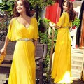 Pretty Girl With Crystal Beads Women Sexy Long Chiffon Yellow Formal Dinner Party Prom Dress for evening gown night out V neck