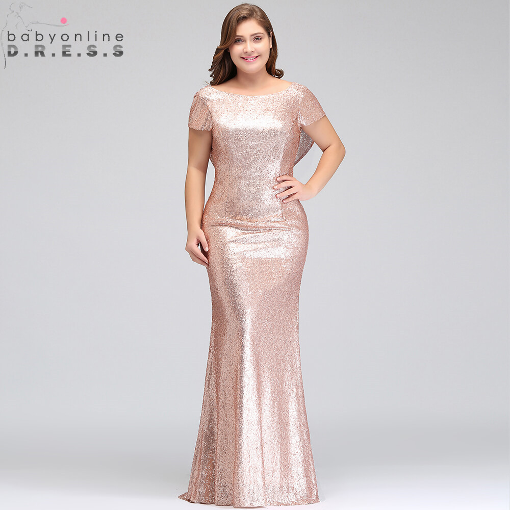 Plus Size 26W Pink Mermaid Bridesmaid Dresses Sexy Short Sleeve Sequined Wedding Party Dress Robe Demoiselle D'honneur