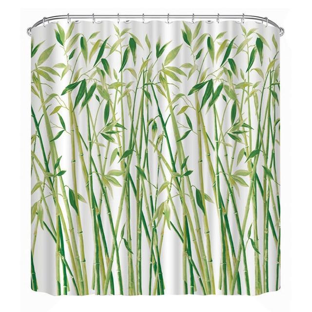 Impermeabile Tenda Della Doccia 3D Decorazioni di Bambù Verde Stampato Tende Da
