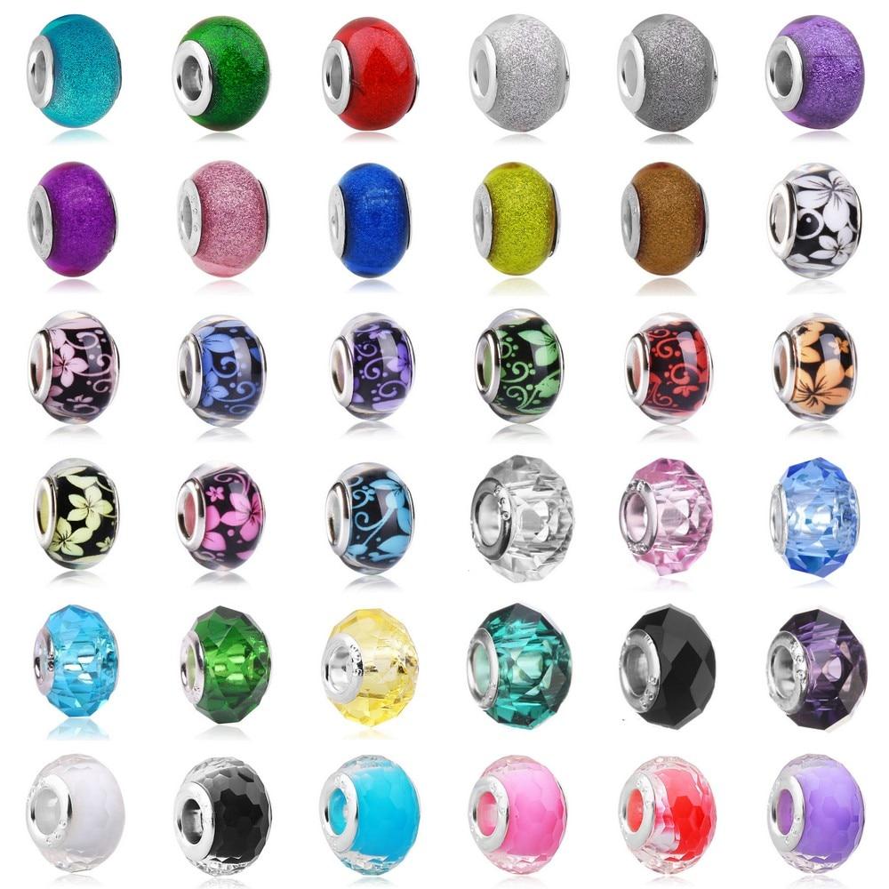 45 choice Hot Sale Blue Round Murano Glass Beads Fit Original Pandora Silver Charm Bracelet Pendant DIY Jewelry Making(China)