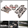 7pc Soft Silicone Black/Grey Union Jack Style Cup Holder Coasters, Side Door Compartment Mats For MINI Cooper R55 R56 R57 R58