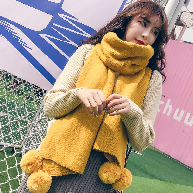Winter Women Solid Knitted Scarf Cashmere Poncho Scarves With Ball Pashmina Shawls And Wraps Bandana Female Foulard knitting