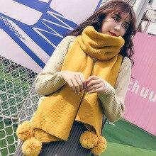 Зимний женский однотонный вязаный шарф, Кашемировое пончо, шарфы с шариками, пашмины, шали и палантины, бандана, женский платок