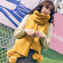 Winter Women Solid Knitted Scarf Cashmere Poncho Scarves With Ball Pashmina Shawls And Wraps Bandana Female Foulard