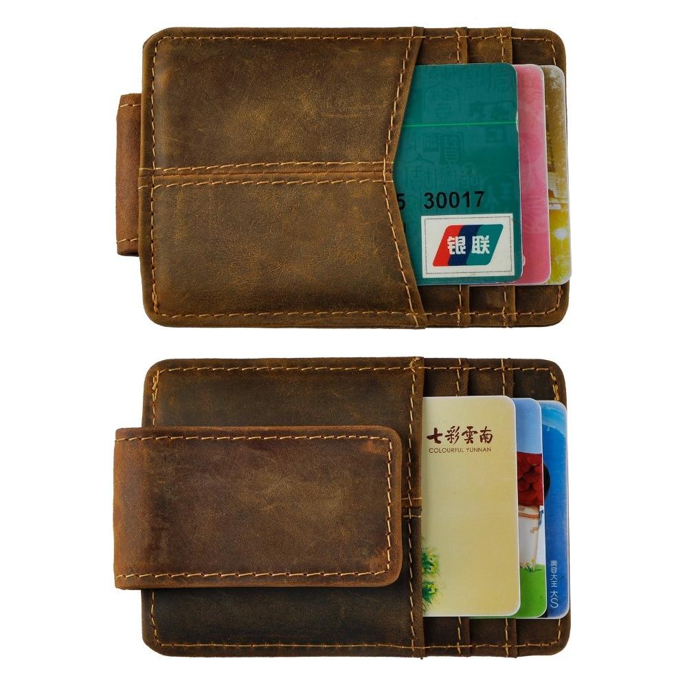 Cattle Male Real Leather Credit Card Cash Bill Holder Magnet Money Clip Slim Mini Handy Wallet Front Pocket Purse For Men 1017d