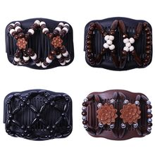 Women Vintage Magic Hair Combs Wood Beaded Flower Stretch Double Side Slide Clips Updo Ponytail Twist Bun Maker Hair Accessories magic hair comb beaded double stretch fashion elastic women clips diy hairstyle