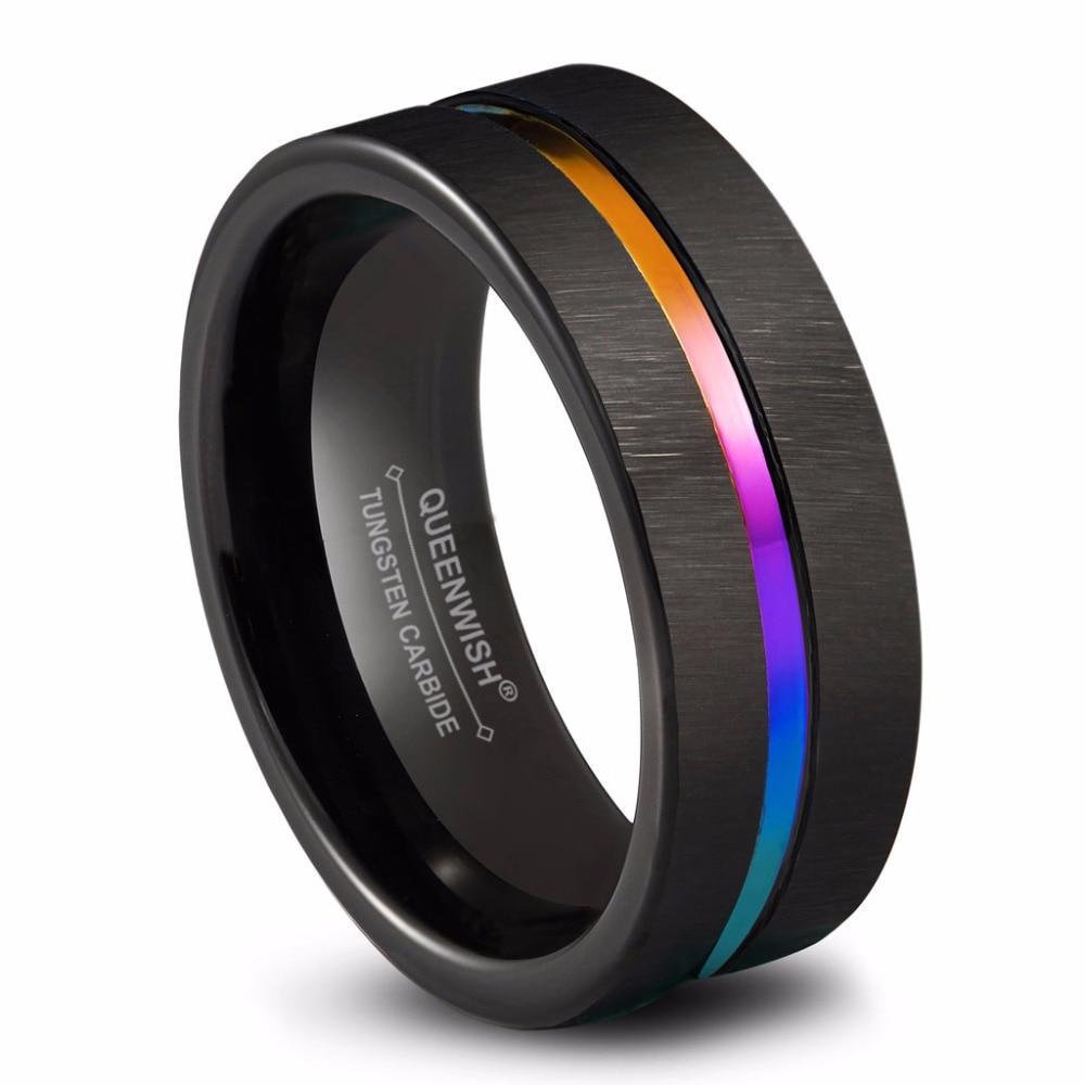 Aliexpress.com : Buy Queenwish Promise Rings 8mm Black Tungsten ...