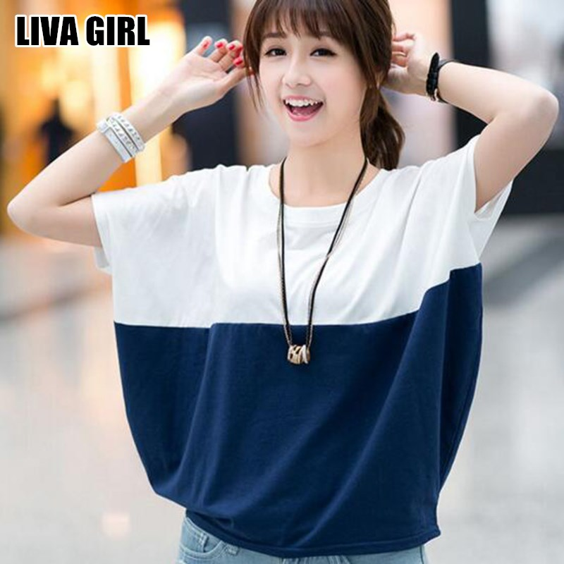 Liva Girl Summer Comfortable Women Loose Bat Sleeve Shirt Casual Tops Tees Patchwork O-Neck T-Shirts Chemise Ladies Size M-2XL