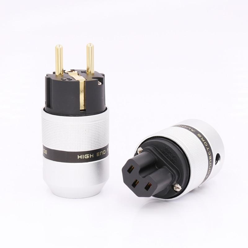 Free shipping One Pair Aluminum metal 24K Gold Plated EUR Euro Schuk Power Plug & IEC|power plug|euro plug|plug power - title=