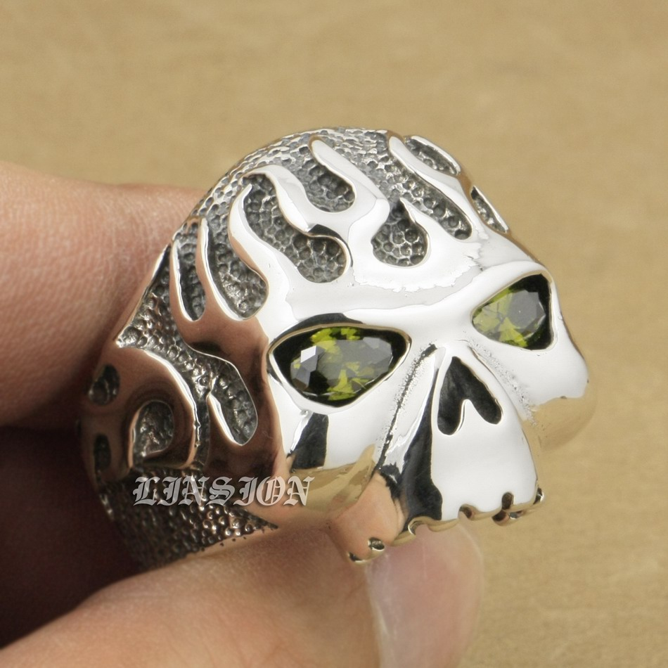 US Size 8 ~ 15 Huge Heavy Solid 925 Sterling Silver Fire Skull Black Olive CZ Eyes Mens Biker Rocker Punk Ring 8D206 r003 skull shaped titanium steel ring black silver us size 8