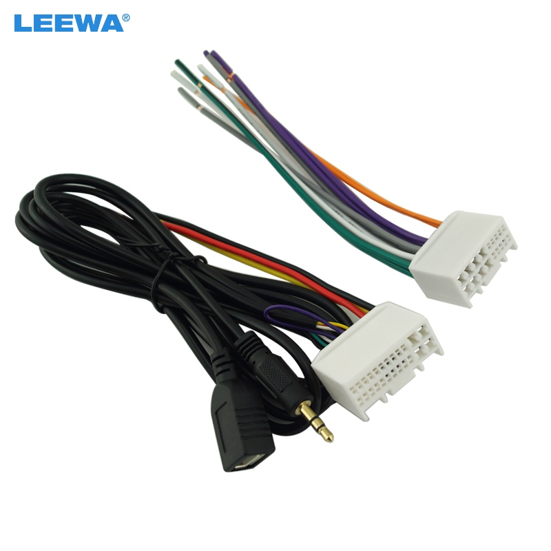 leewa 5set car audio cd stereo wiring harness adapter with