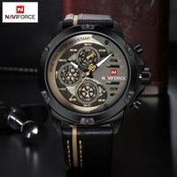 NAVIFORCE Top Brand Luxury Mens Watches Waterproof 24 Hour Date Sport Quartz Watch Leather Casual Wrist