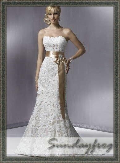 Freeshipping best selling mermaid strapless bow beaded for Best selling wedding dresses