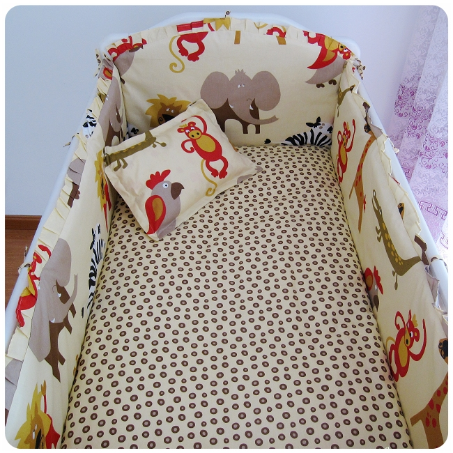 ФОТО promotion! 6pcs new baby cot crib bedding girl printed baby bedding set for kids  ,include(bumper+sheet+pillow cover)