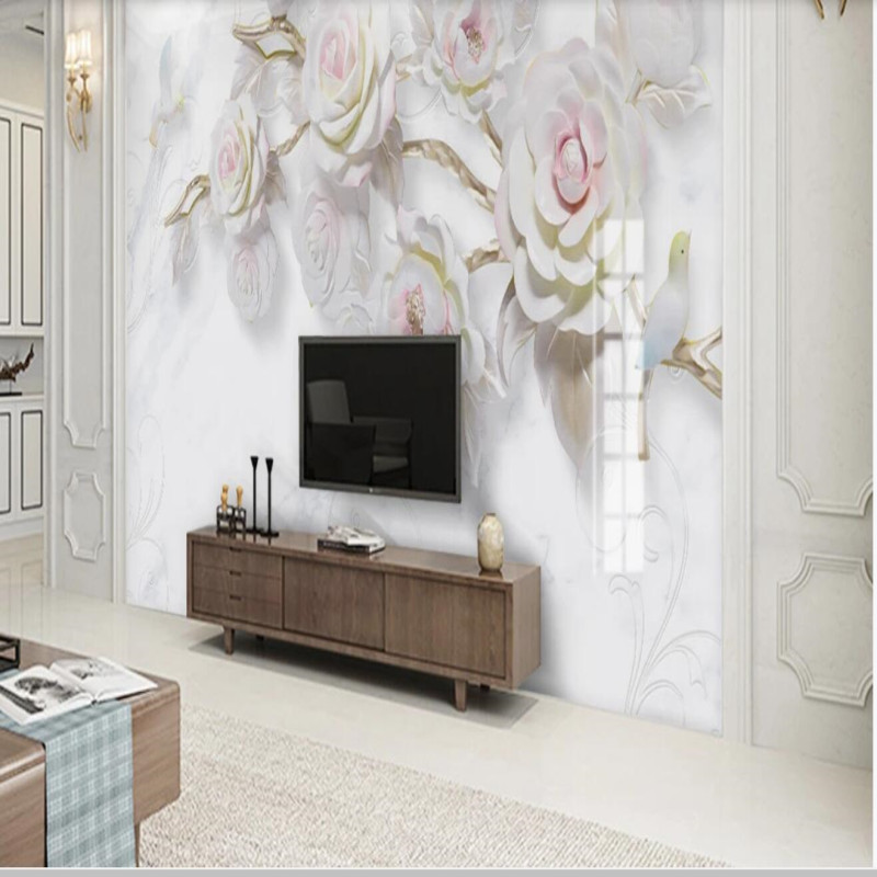 Three dimensional embossed rose bird marble background wall decorative painting in Fabric Textile Wallcoverings from Home Improvement