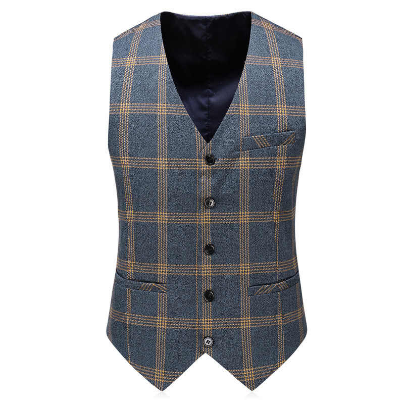 PYJTRL Men Fashion Plaid Designs Three-piece Set Suits Groom Tuxedos Wedding Slim Fit Business Casual Male Prom Dress Suits