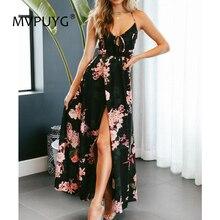 2018 summer Vintage Sexy Backless Bohemian Sling Print Floral  Beach Dress Women Maxi Irregular long dress vestidos S-XL