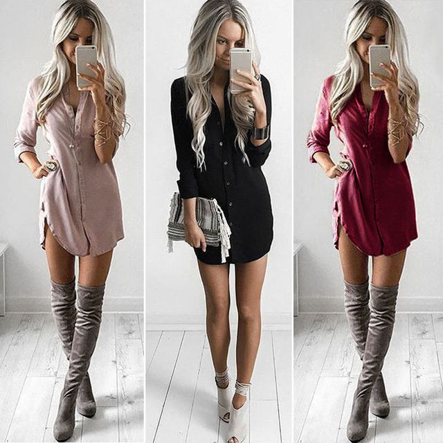 fa7a30e714 2017 moda mujer ropa señora verano manga larga blusa suelta Casual Color  sólido vestido estilo Simple