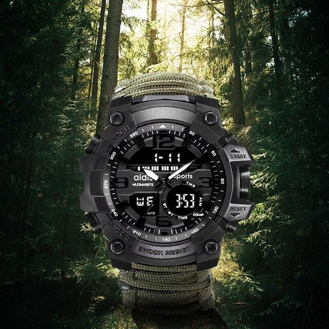 LED montre militaire avec boussole 30M tanche hommes montre de Sport hommes montre de Sport choc