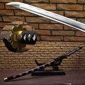 Бесплатная Доставка One Piece Зоро Sandai Sword Черный Shusui Ручной 1045 Углеродистая Сталь Настоящее Катана Полный Тан Sharp Питания