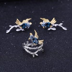 Image 5 - GEMS الباليه 0.84Ct الطبيعية لندن الأزرق خواتم بحجر توباز 925 فضة اليدوية الطيور على فرع الدائري للنساء بيجو