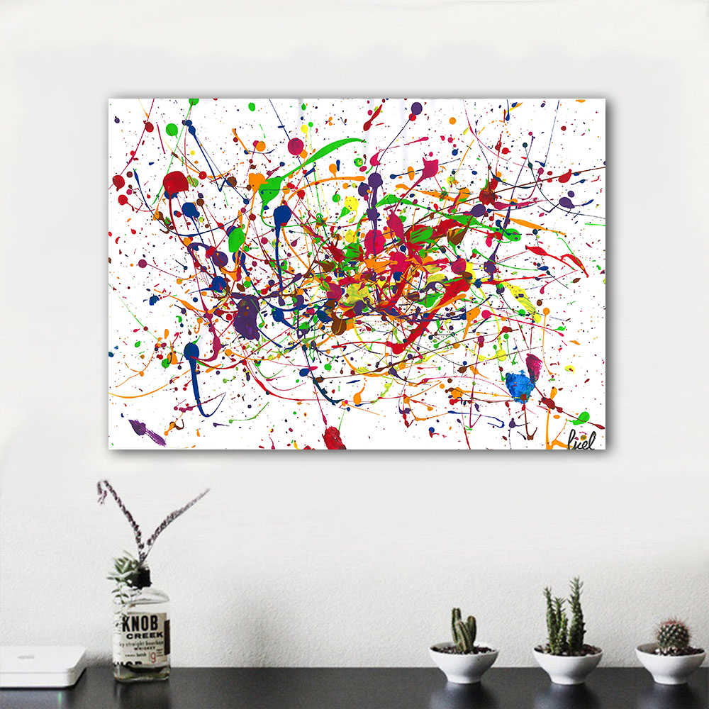 HDARTISAN Wall Art Abstract Canvas Painting Light Line Picutres For Living Room Home Decor No Frame