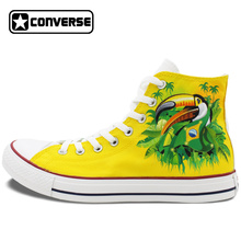 2016 New Shoes Brazil Flag Converse All Star Bird Green-Winged Macaw Hand Painted Canvas Shoes High Top Sneakers Gifts