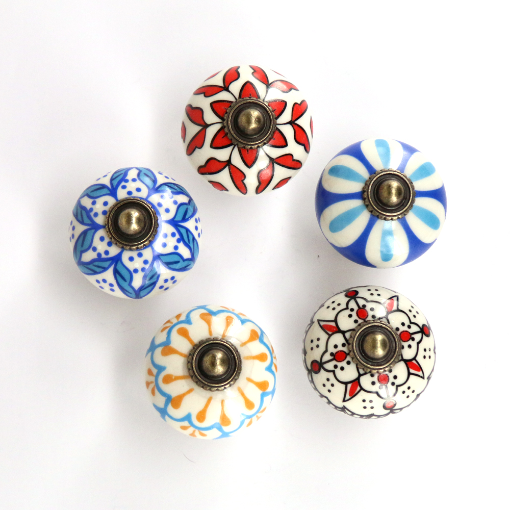 1x Vintage Flower Painted Ceramic Knobs and Handles Cupboard Door Drawer Kitchen Pull Knob Furniture Hardware 1pc furniture handles vintage butterfly cabinet knobs and handles ceramic door knob cupboard dresser drawer kitchen pull handle