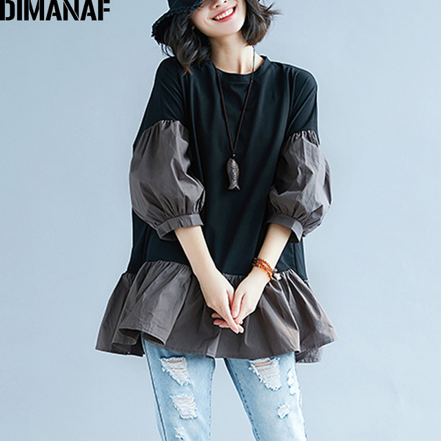 DIMANAF Women Blouse Shirts Autumn Plus Size Spliced Ruffles Femme Elegant Lady Loose Fashion Top Large Clothing 2018 Black Tees