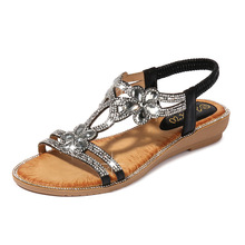 Buy Luxury Women Sandals Flats Crystal Flower Fashion Casual Shoes Woman 2019 New Summer Elastic Band Solid Size 36-42 High Quality directly from merchant!