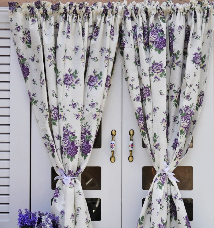 Free shipping Lace hem Classic pastoral 100%cotton purple rose coffee curtain kitchen curtains for living room bedroom 150*110cm