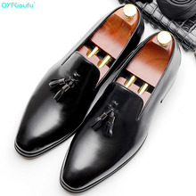 QYFCIOUFU Pointed Toe Genuine Leather Shoes Men Stylish Slip-on Formal Fashion Tassel Loafers Luxury Mens Dress