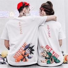 Mens Cartoon Dragon Z Ball Sun Wutian Trunks Print T-shirt Harajuku Trends Loose Anime Pattern Super Saiyan Fun Cotton T-Shirt