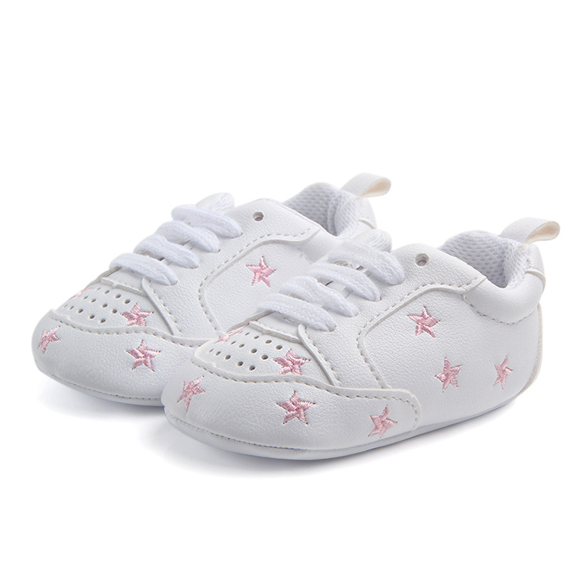 PU Leather Baby Boy Girl Shoes Cotton Soft Sole Baby Moccasins 0-12M Newborn Shoes White Star Infant Shoes First Walkers F29