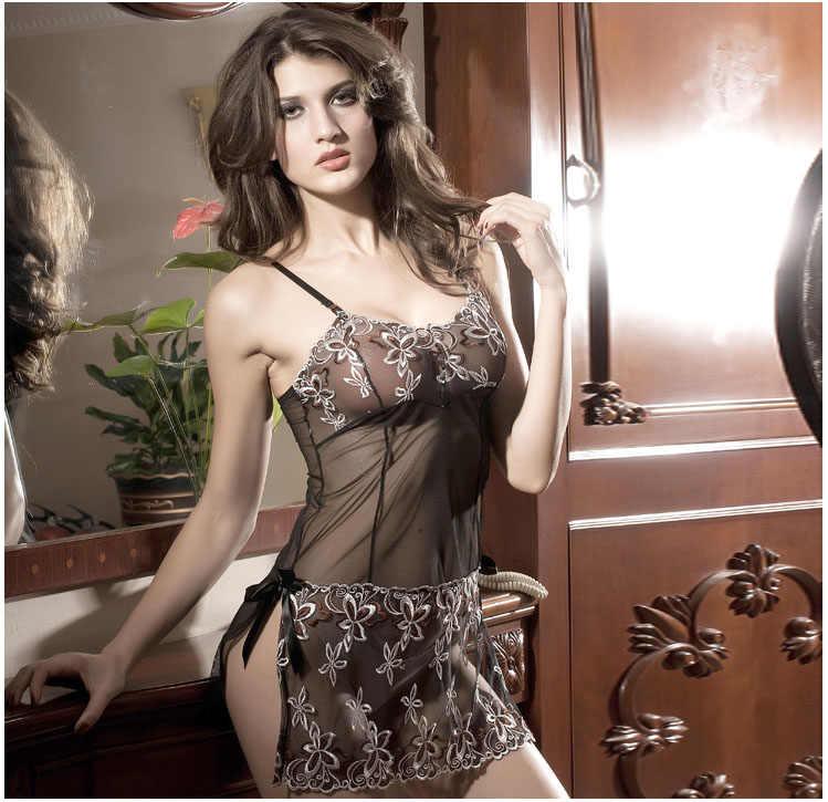 Plus größe floral stickerei frauen Sexy dessous transparent kostüme nighty dame erotische/exotische kleid G-string Babydoll schwarz