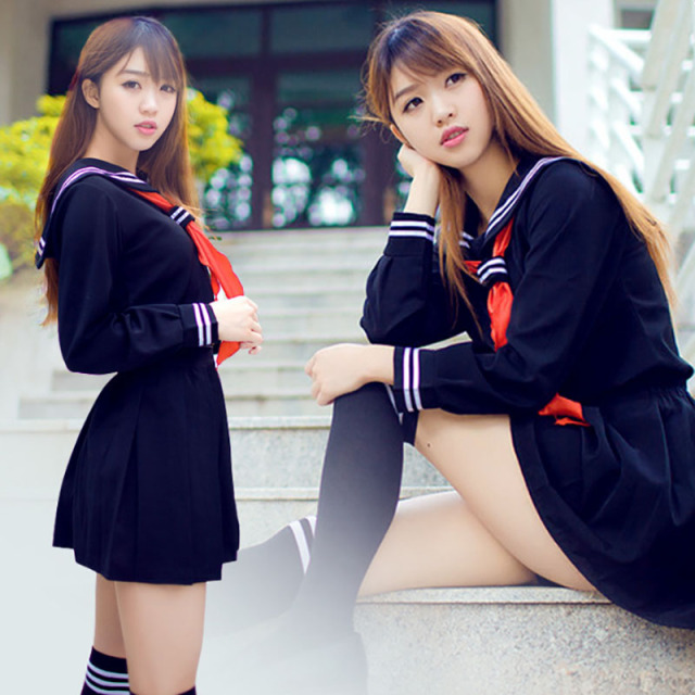 Teen Girls Jk Japanese School Student Uniform Sailor Dress Enma Anime Costume Suit Sexy Pleated Skirt Outfit For Women Plus Size