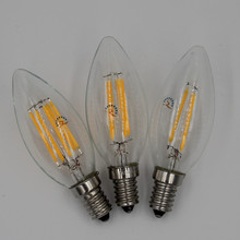 LED Candle Lamp E14 C35 B10 2w 4w 6w Flame Frosted Retro Edison Crystal chandeliers LED Filament Bulb light 220v AC CE RoHs