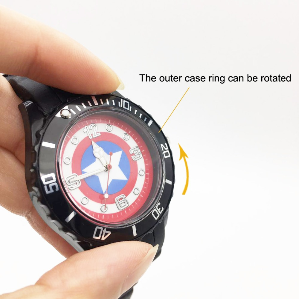The Avenger Captain America students watches quartz wrist watch for kids cool boys clock black pu strap drop shipping (17)