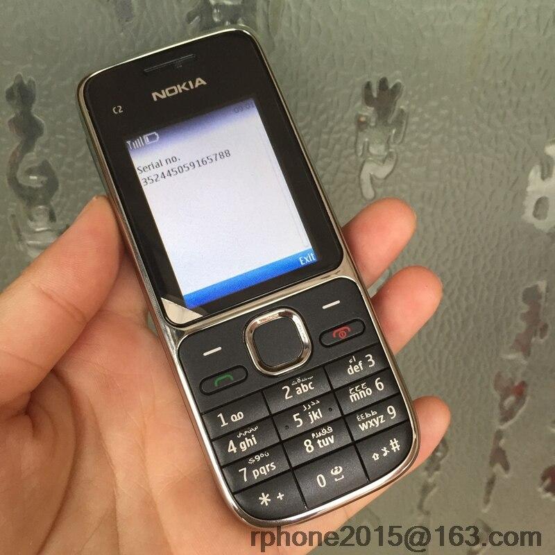 Nokia C2 C2-01 разблокированный мобильный телефон восстановленные мобильные телефоны и Иврит Русский Арабский Клавиатура - Цвет: black Arabic Keybad