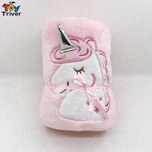 Kawaii Единорог, плюшевая игрушка, портативное банное одеяло для маленьких девочек и мальчиков, подарок на день рождения, автомобильный коврик для путешествий, офисный ковер для сна