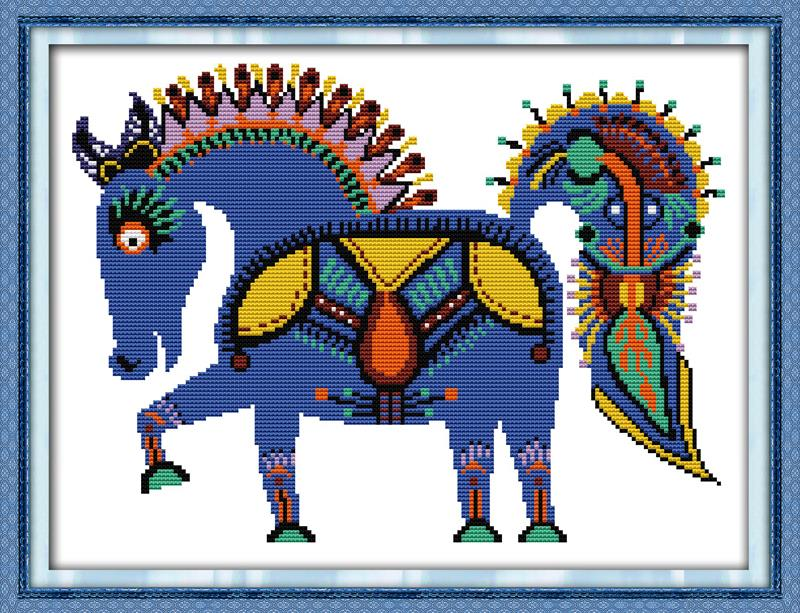 The happy horse DMC China Cross Stitch 14CT 11CT DIY Needlework Counted Cross stitch Kits For Embroidery Cross Crafts Home Decor