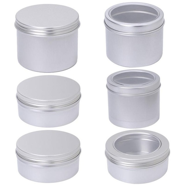100ml / 150ml / 180ml Aluminium Empty Cosmetic Pot Jar Tin Container Silver  Box Screw Lid