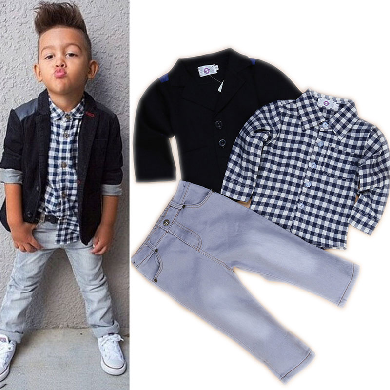 2016 Brand New Toddler Boys Clothing Set 3 Pcs Boys Party