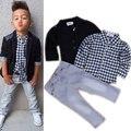 2016 Brand New criança meninos roupas definir 3 Pcs meninos roupas de festa crianças Boutique roupas de casamento roupas meninos Formal , colete