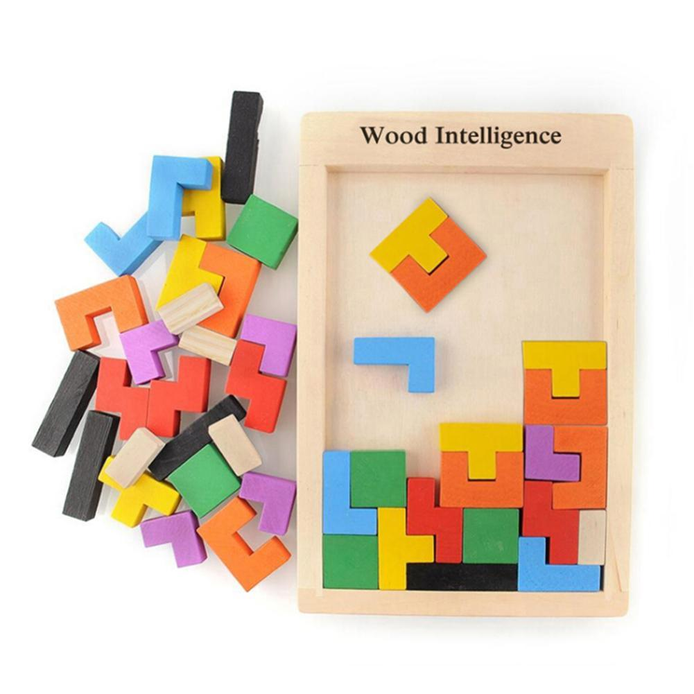 Wooden Intelligence Toys Tangram Puzzle Brain Teaser Toy Tetris Game Preschool Magination Intellectual Educational Toys