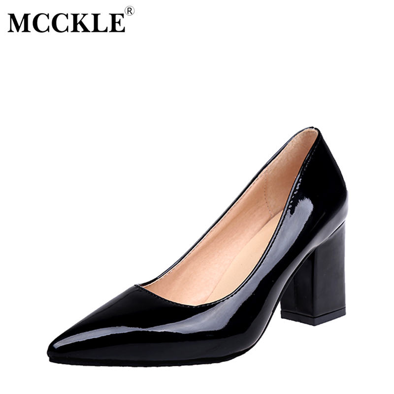 MCCKLE Autumn Chunky Heel Shoes Plus Size Women Pumps Pointed Toe Patent Leather High Heels Black Party Wedding Thick Heel fashion brand name women high heels shoes patent leather pointed toe slip on footwear chunky heel party wedding lady pumps nude