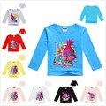 VENTA CALIENTE de 2 A 11 Años New Trolls Muchachas del resorte camisas de Algodón de Los Niños Niños Tops Camisetas Animales Lindos Del Bebé blusa de Las Muchachas